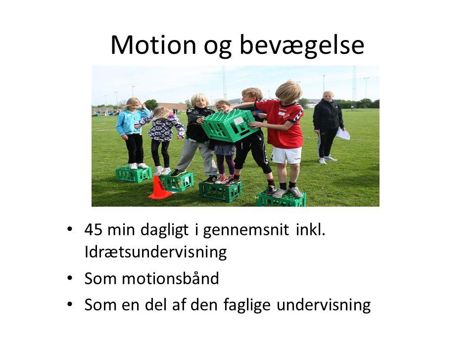 Motion og bevægelse 45 min dagligt i gennemsnit inkl.