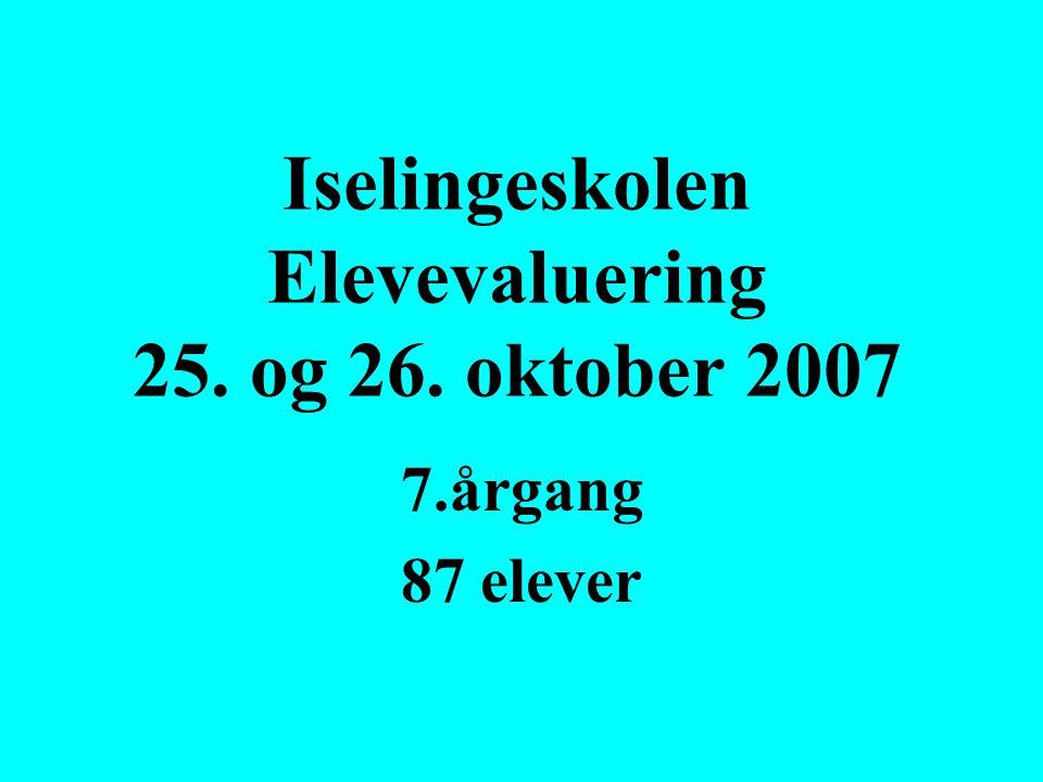 Iselingeskolen Elevevaluering 25. og 26. oktober 2007 7.årgang 87 elever