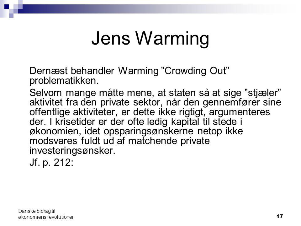 17 Danske bidrag til økonomiens revolutioner Jens Warming Dernæst behandler Warming Crowding Out problematikken.