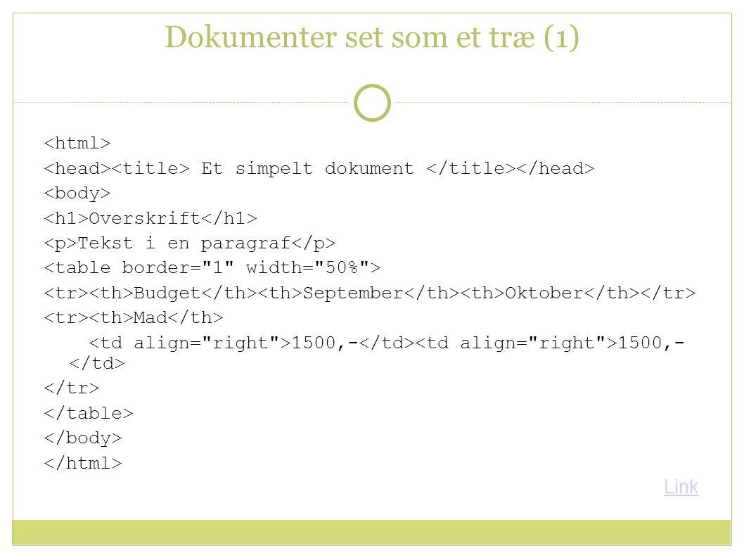 Dokumenter set som et træ (1) Et simpelt dokument Overskrift Tekst i en paragraf Budget September Oktober Mad 1500,- 1500,- Link