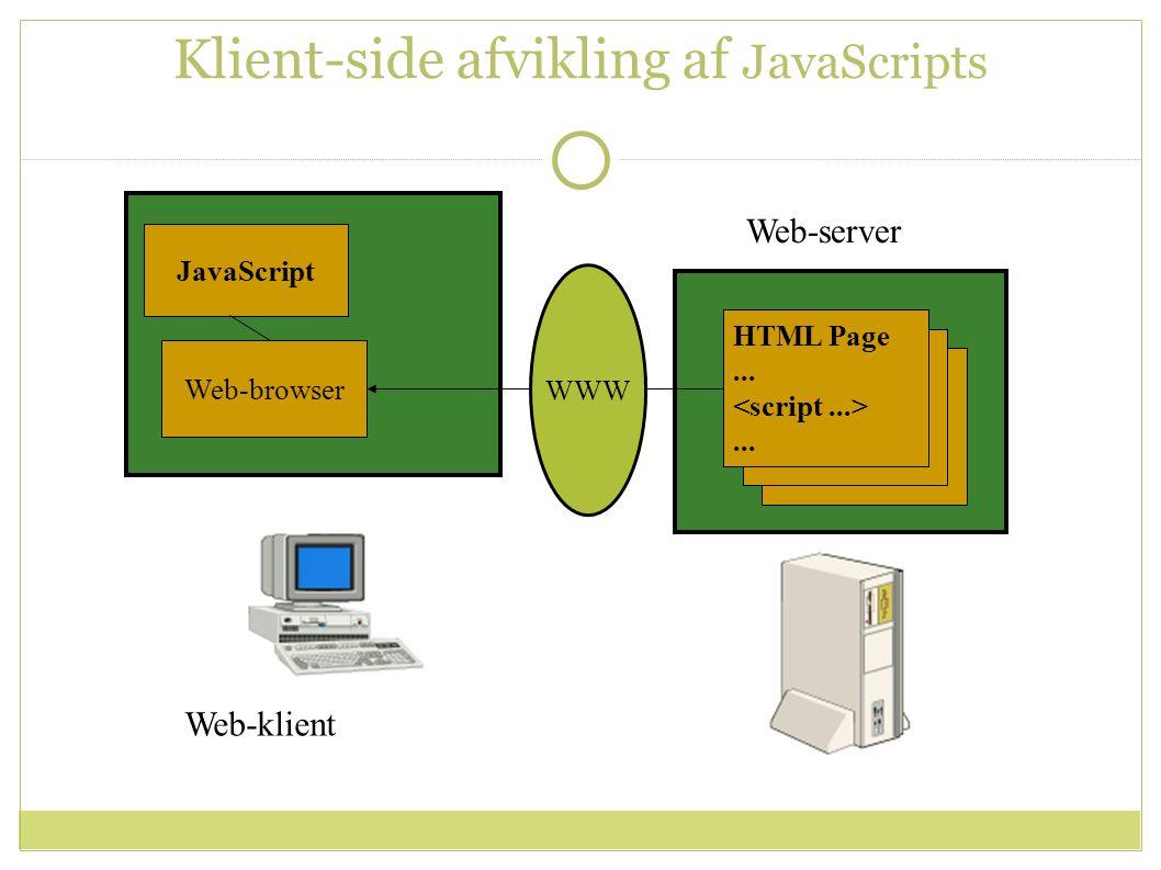 Klient-side afvikling af JavaScripts Web-server JavaScript WWW Web-browser HTML Page......