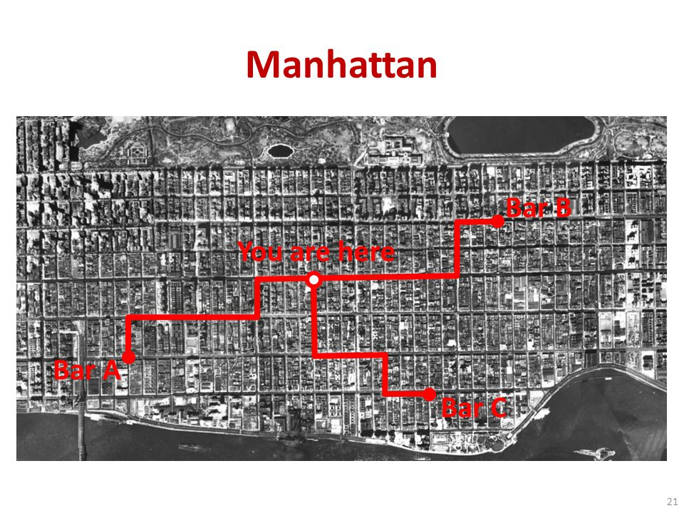 Manhattan Bar A Bar B 21 Bar C You are here