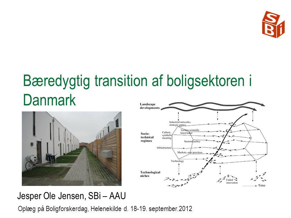 Bæredygtig transition af boligsektoren i Danmark Jesper Ole Jensen, SBi – AAU Oplæg på Boligforskerdag, Helenekilde d.
