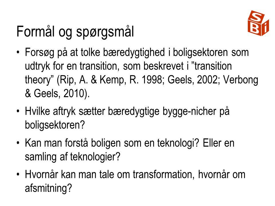Formål og spørgsmål Forsøg på at tolke bæredygtighed i boligsektoren som udtryk for en transition, som beskrevet i transition theory (Rip, A.