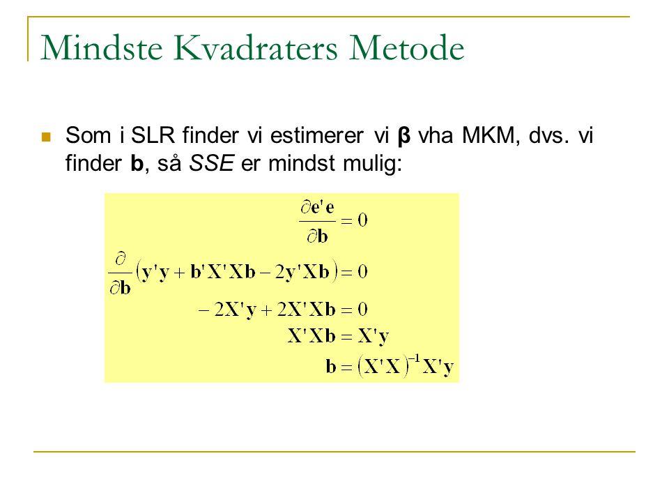 Mindste Kvadraters Metode Som i SLR finder vi estimerer vi β vha MKM, dvs.