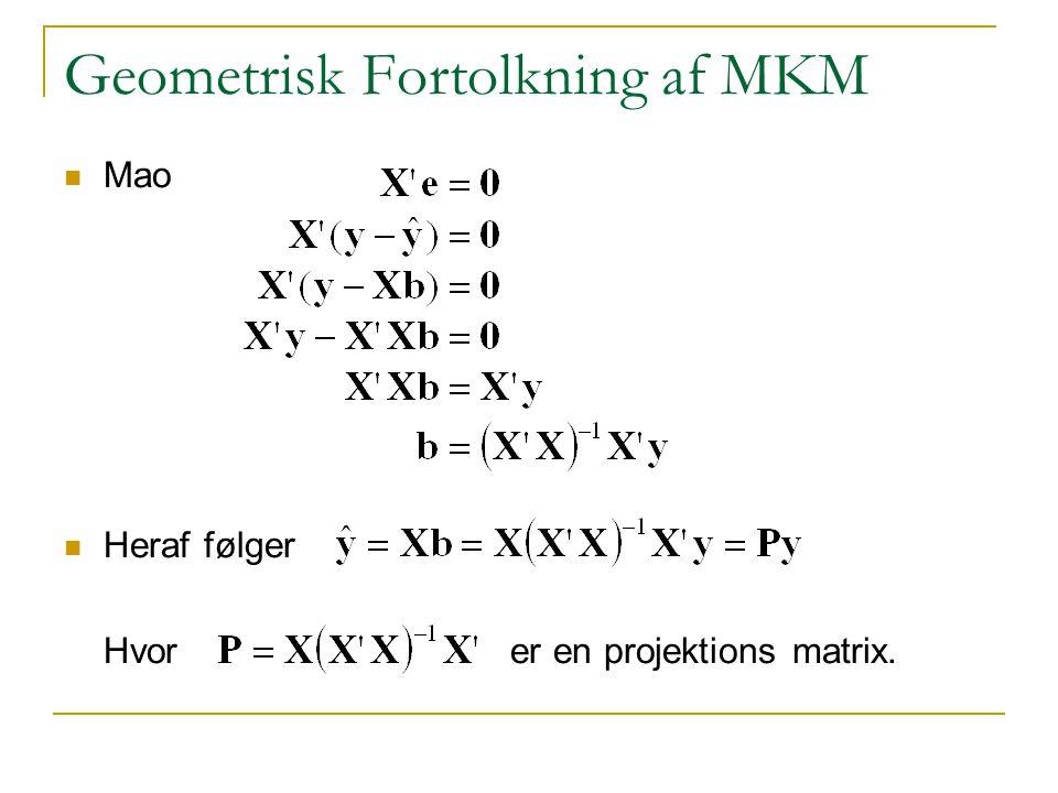Geometrisk Fortolkning af MKM Mao Heraf følger Hvor er en projektions matrix.