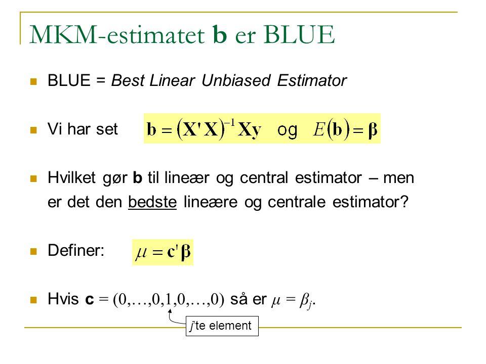 MKM-estimatet b er BLUE BLUE = Best Linear Unbiased Estimator Vi har set Hvilket gør b til lineær og central estimator – men er det den bedste lineære og centrale estimator.