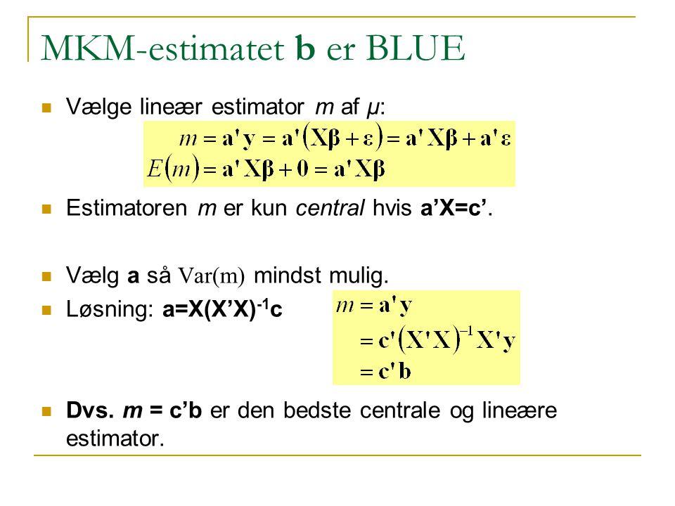 MKM-estimatet b er BLUE Vælge lineær estimator m af μ: Estimatoren m er kun central hvis a'X=c'.