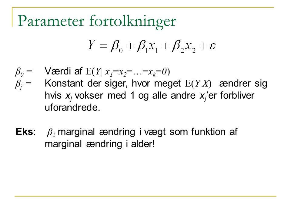 Parameter fortolkninger β 0 = Værdi af E(Y| x 1 =x 2 =…=x k =0) β j = Konstant der siger, hvor meget E(Y|X) ændrer sig hvis x j vokser med 1 og alle andre x j 'er forbliver uforandrede.