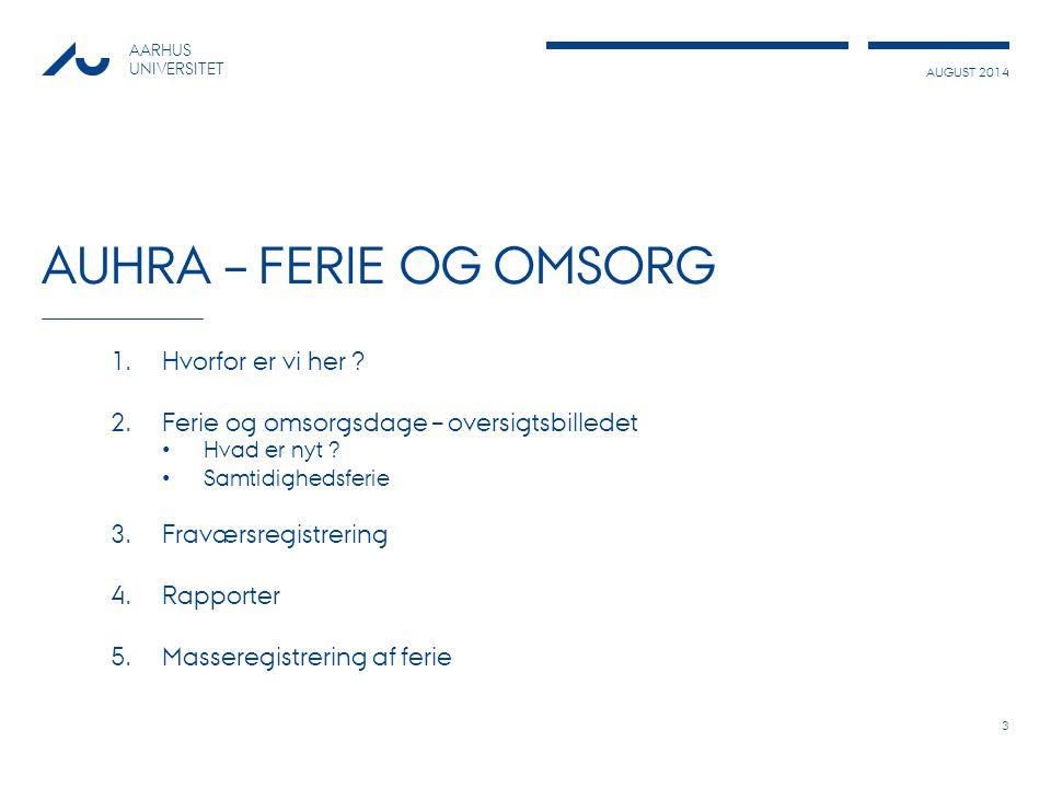 AUGUST 2014 AARHUS UNIVERSITET AUHRA – FERIE OG OMSORG 1.