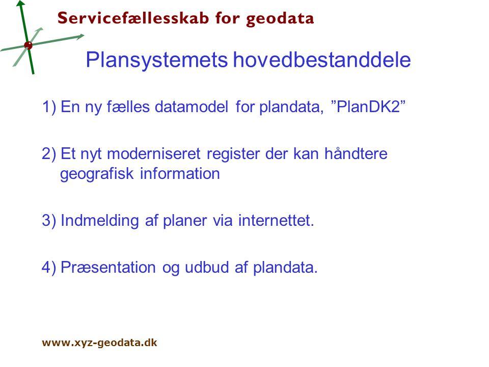 www.xyz-geodata.dk Plansystemets hovedbestanddele 1) En ny fælles datamodel for plandata, PlanDK2 2) Et nyt moderniseret register der kan håndtere geografisk information 3) Indmelding af planer via internettet.