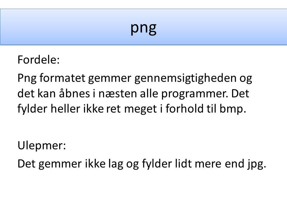 png Fordele: Png formatet gemmer gennemsigtigheden og det kan åbnes i næsten alle programmer.