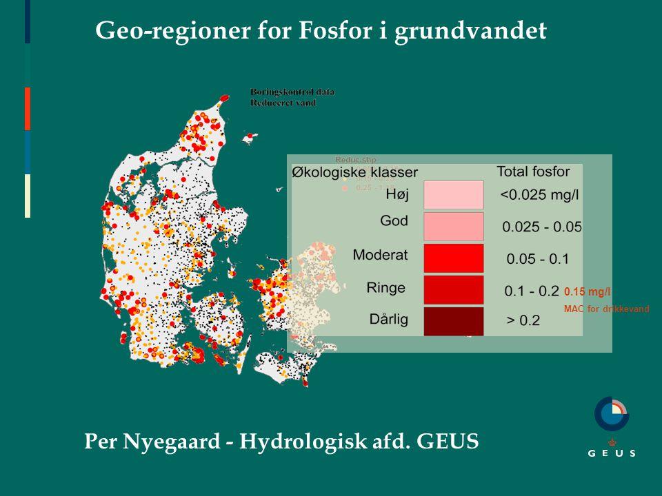 Geo-regioner for Fosfor i grundvandet Per Nyegaard - Hydrologisk afd.