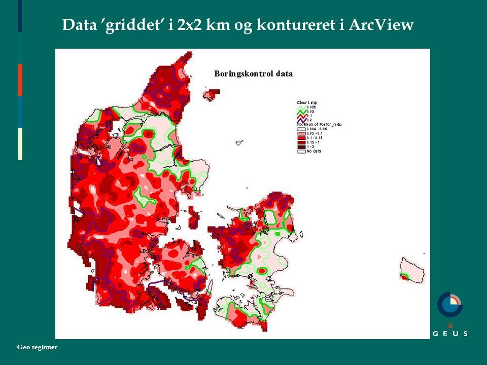 Geo-regioner Data 'griddet' i 2x2 km og kontureret i ArcView