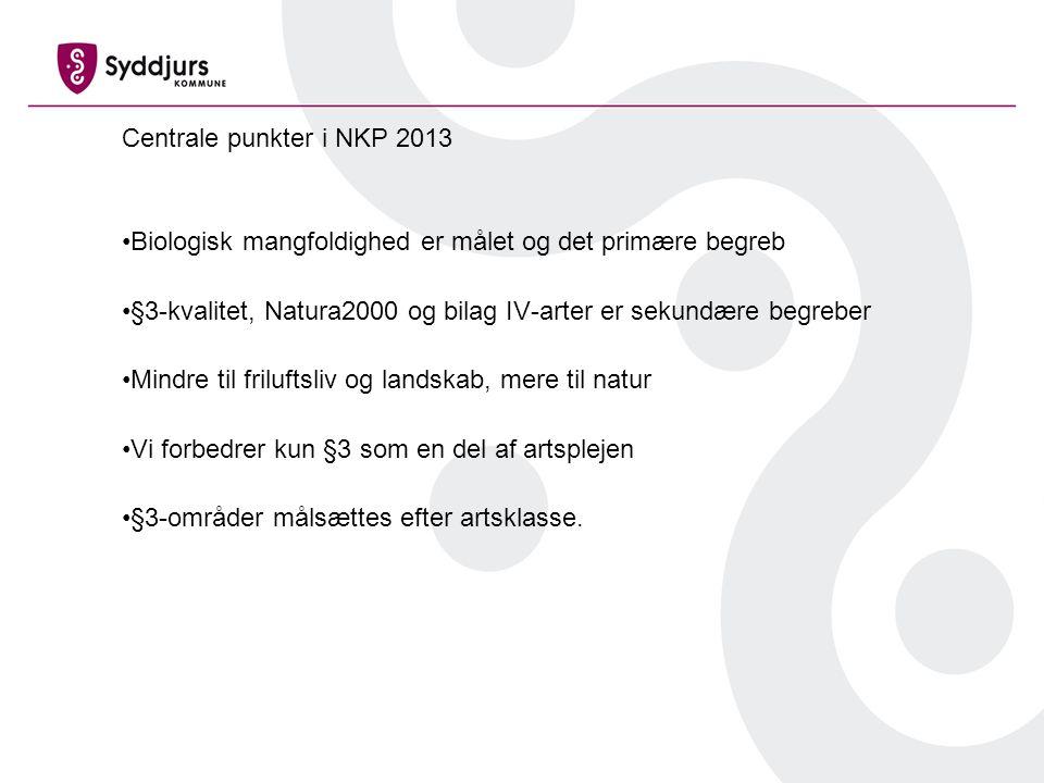 Centrale punkter i NKP 2013 Biologisk mangfoldighed er målet og det primære begreb §3-kvalitet, Natura2000 og bilag IV-arter er sekundære begreber Mindre til friluftsliv og landskab, mere til natur Vi forbedrer kun §3 som en del af artsplejen §3-områder målsættes efter artsklasse.