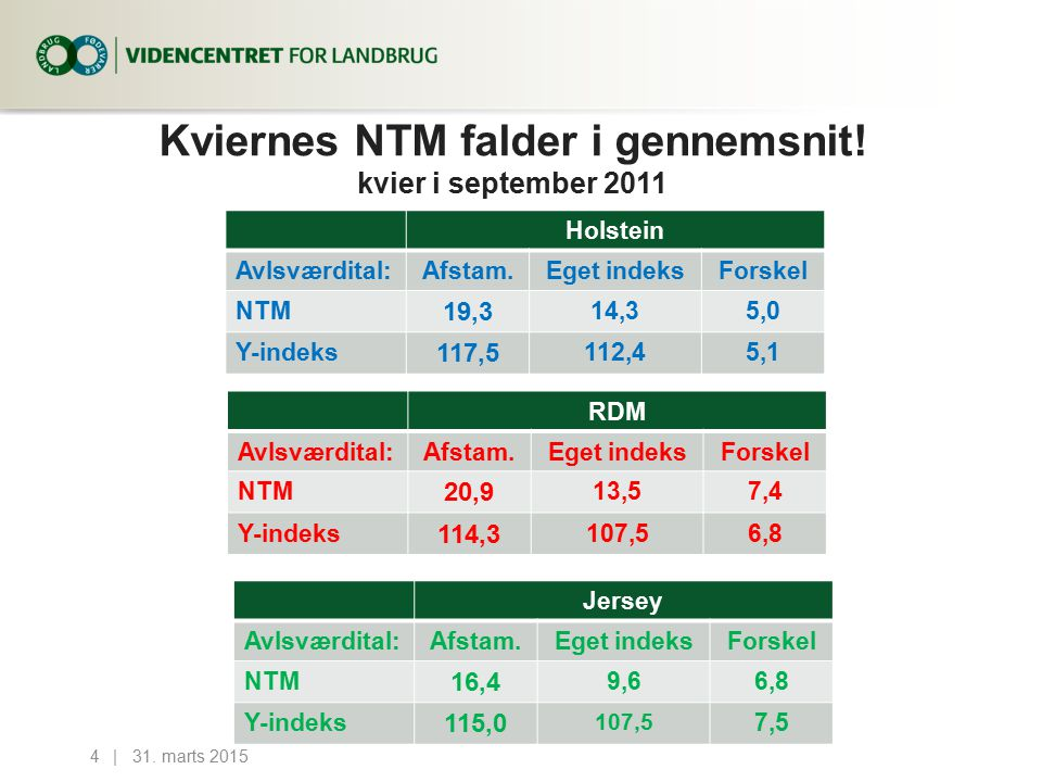 Kviernes NTM falder i gennemsnit.