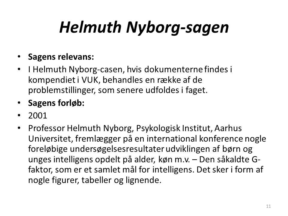 11 Helmuth Nyborg-sagen Sagens relevans: I Helmuth Nyborg-casen, hvis dokumenterne findes i kompendiet i VUK, behandles en række af de problemstillinger, som senere udfoldes i faget.