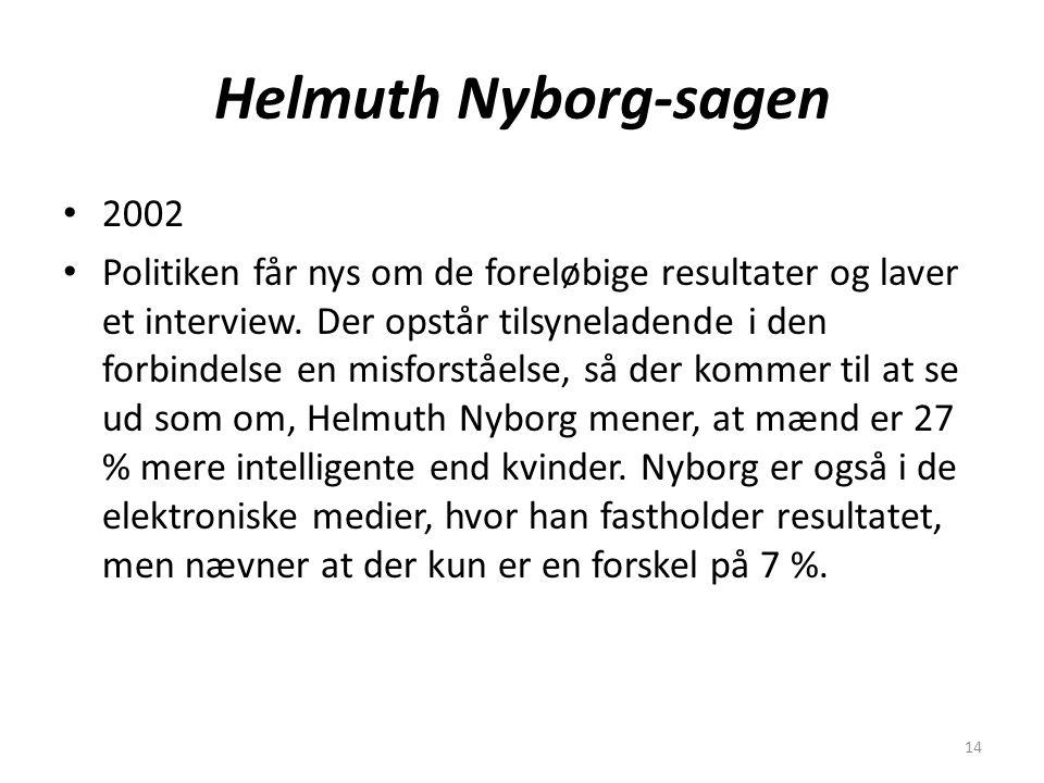 14 Helmuth Nyborg-sagen 2002 Politiken får nys om de foreløbige resultater og laver et interview.
