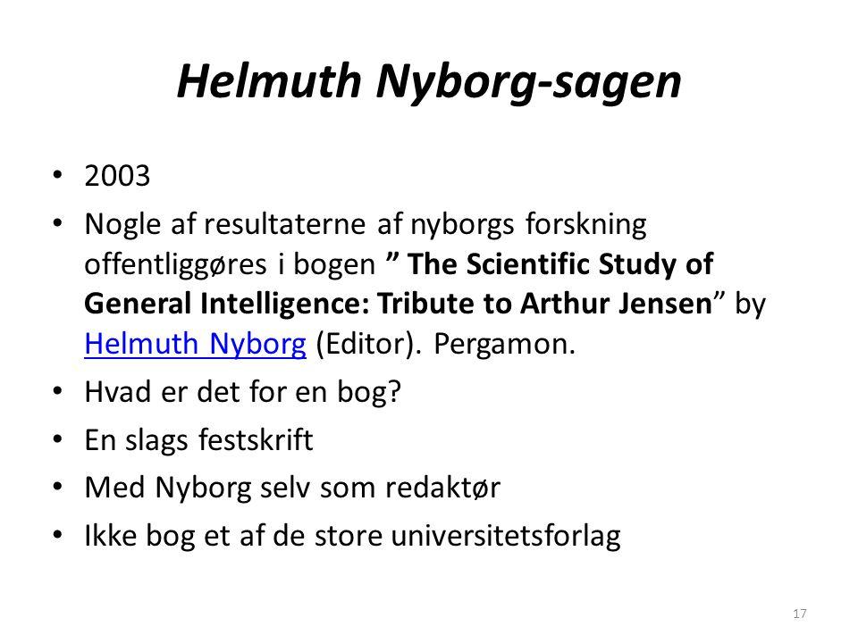 17 Helmuth Nyborg-sagen 2003 Nogle af resultaterne af nyborgs forskning offentliggøres i bogen The Scientific Study of General Intelligence: Tribute to Arthur Jensen by Helmuth Nyborg (Editor).