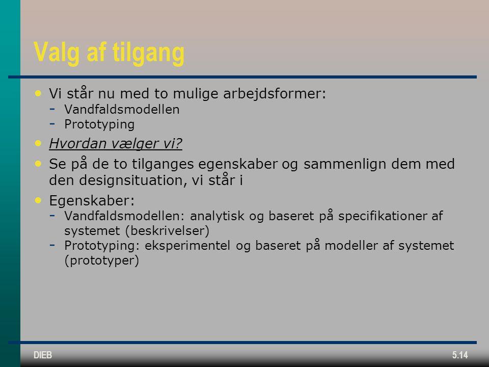 DIEB5.14 Valg af tilgang Vi står nu med to mulige arbejdsformer:  Vandfaldsmodellen  Prototyping Hvordan vælger vi.