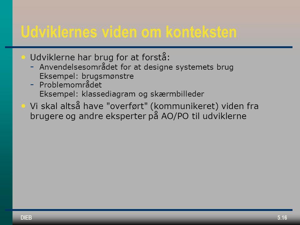 DIEB5.16 Udviklernes viden om konteksten Udviklerne har brug for at forstå:  Anvendelsesområdet for at designe systemets brug Eksempel: brugsmønstre  Problemområdet Eksempel: klassediagram og skærmbilleder Vi skal altså have overført (kommunikeret) viden fra brugere og andre eksperter på AO/PO til udviklerne