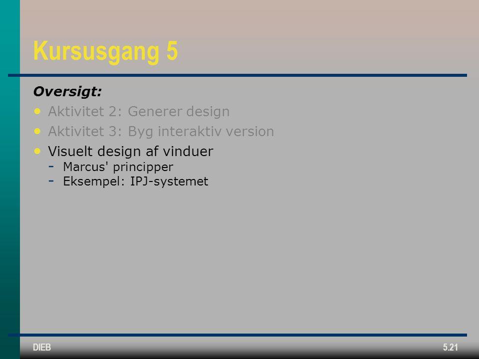 DIEB5.21 Kursusgang 5 Oversigt: Aktivitet 2: Generer design Aktivitet 3: Byg interaktiv version Visuelt design af vinduer  Marcus principper  Eksempel: IPJ-systemet