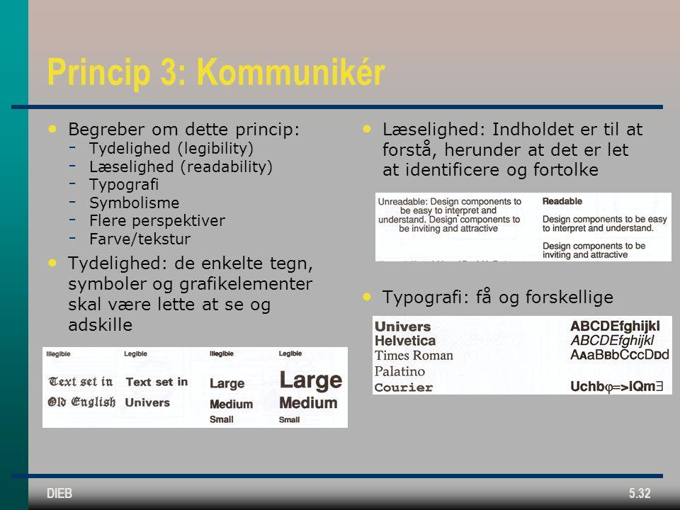 DIEB5.32 Princip 3: Kommunikér Begreber om dette princip:  Tydelighed (legibility)  Læselighed (readability)  Typografi  Symbolisme  Flere perspektiver  Farve/tekstur Tydelighed: de enkelte tegn, symboler og grafikelementer skal være lette at se og adskille Læselighed: Indholdet er til at forstå, herunder at det er let at identificere og fortolke Typografi: få og forskellige