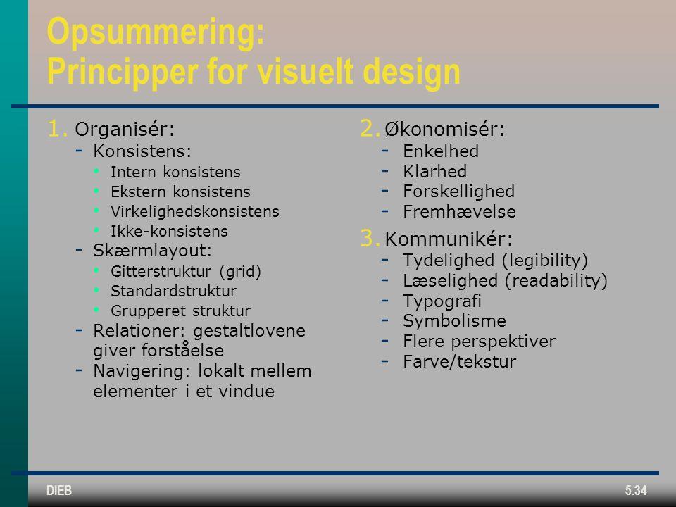 DIEB5.34 Opsummering: Principper for visuelt design 1.
