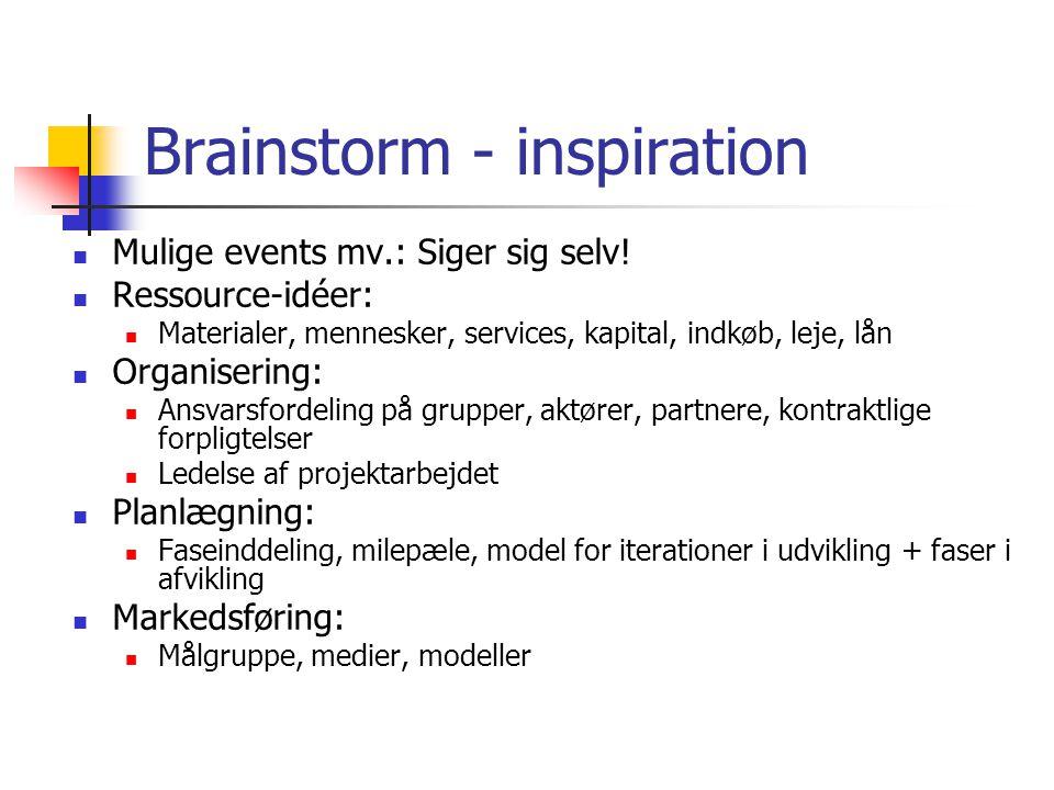 Brainstorm - inspiration Mulige events mv.: Siger sig selv.