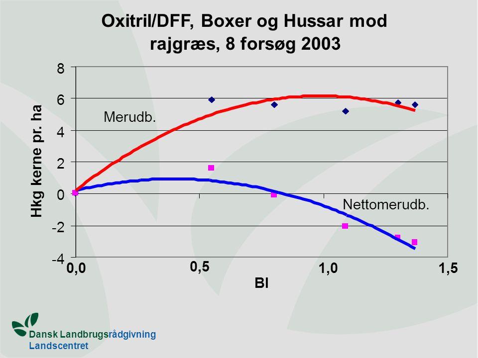 Dansk Landbrugsrådgivning Landscentret Oxitril/DFF, Boxer og Hussar mod rajgræs, 8 forsøg 2003 -4 -2 0 2 4 6 8 0,0 0,5 1,01,5 BI Hkg kerne pr.