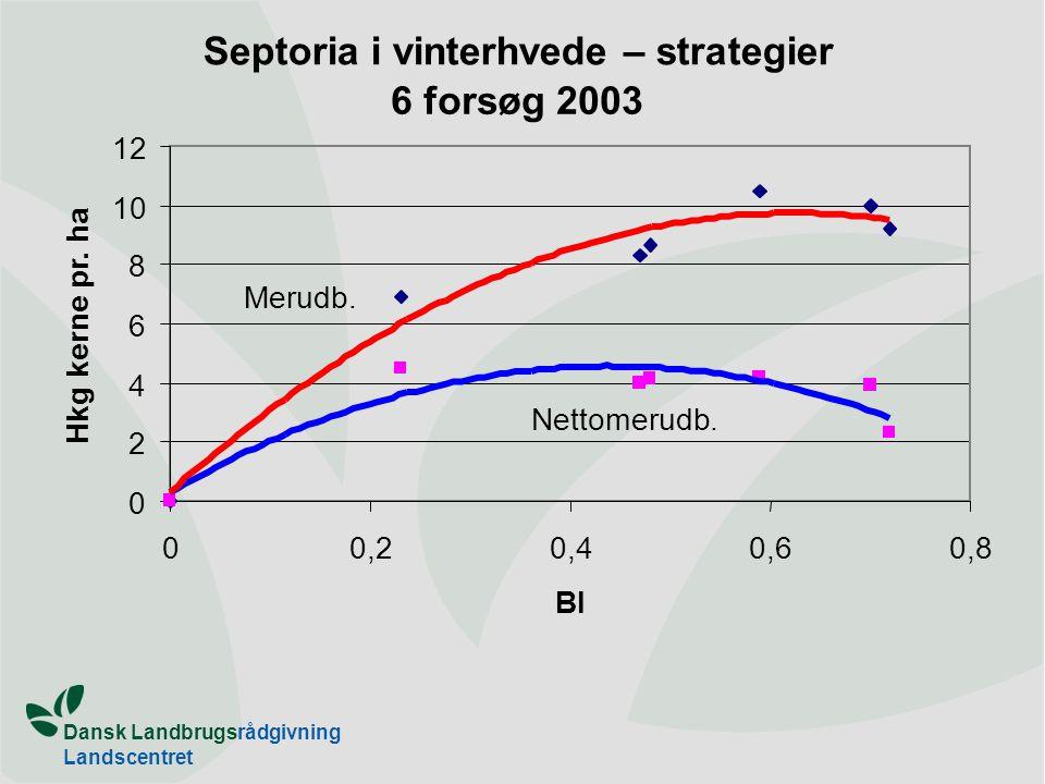 Dansk Landbrugsrådgivning Landscentret Septoria i vinterhvede – strategier 6 forsøg 2003 0 2 4 6 8 10 12 00,20,40,60,8 BI Hkg kerne pr.