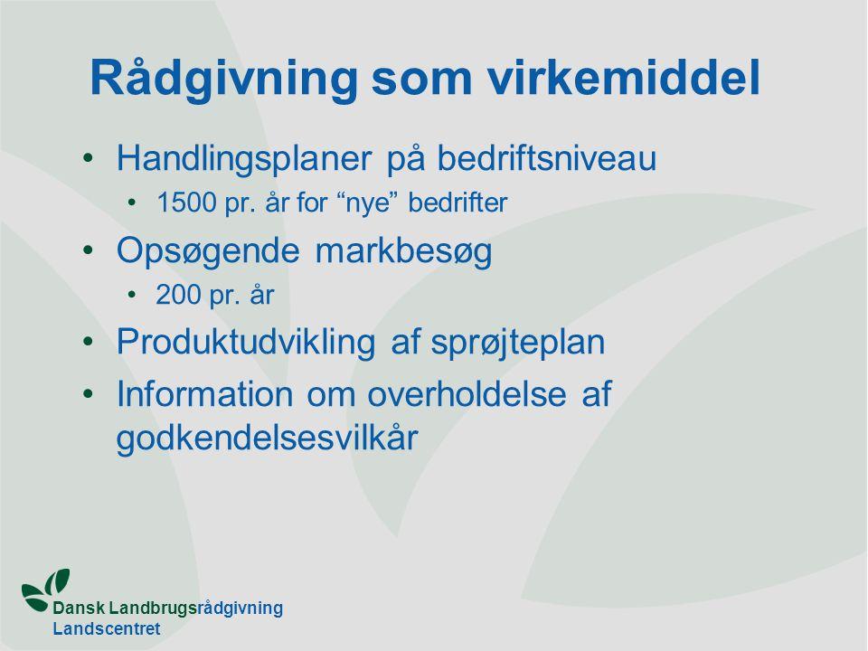 Dansk Landbrugsrådgivning Landscentret Rådgivning som virkemiddel Handlingsplaner på bedriftsniveau 1500 pr.