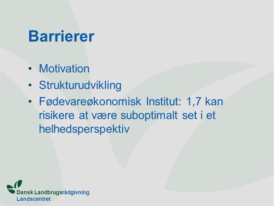 Dansk Landbrugsrådgivning Landscentret Barrierer Motivation Strukturudvikling Fødevareøkonomisk Institut: 1,7 kan risikere at være suboptimalt set i et helhedsperspektiv
