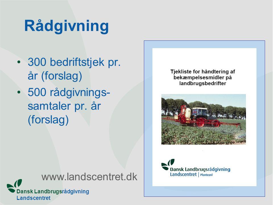 Dansk Landbrugsrådgivning Landscentret Rådgivning 300 bedriftstjek pr.