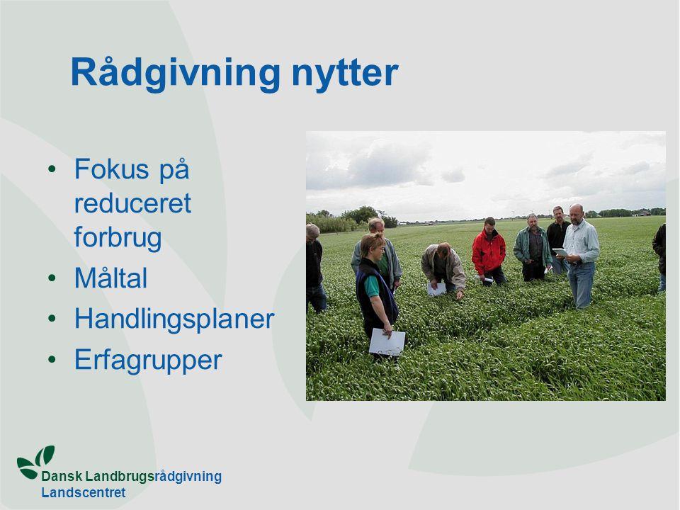 Dansk Landbrugsrådgivning Landscentret Rådgivning nytter Fokus på reduceret forbrug Måltal Handlingsplaner Erfagrupper