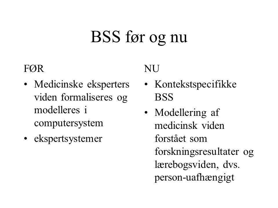 BSS før og nu FØR Medicinske eksperters viden formaliseres og modelleres i computersystem ekspertsystemer NU Kontekstspecifikke BSS Modellering af medicinsk viden forstået som forskningsresultater og lærebogsviden, dvs.