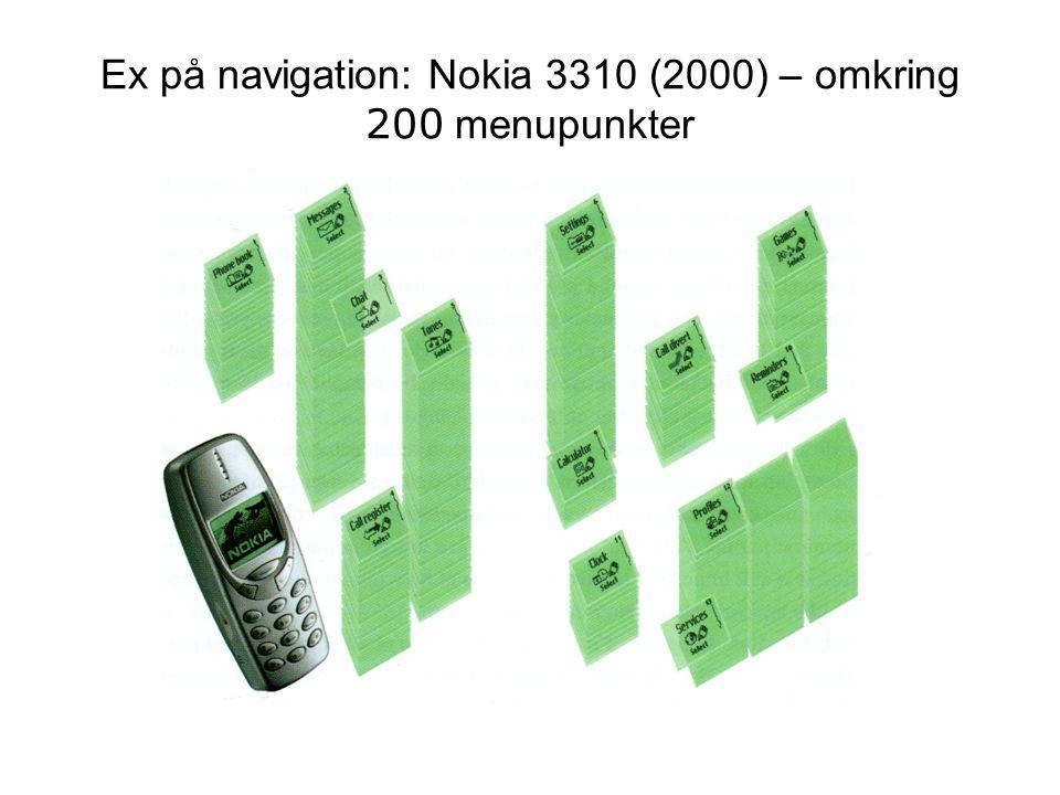 Ex på navigation: Nokia 3310 (2000) – omkring 200 menupunkter