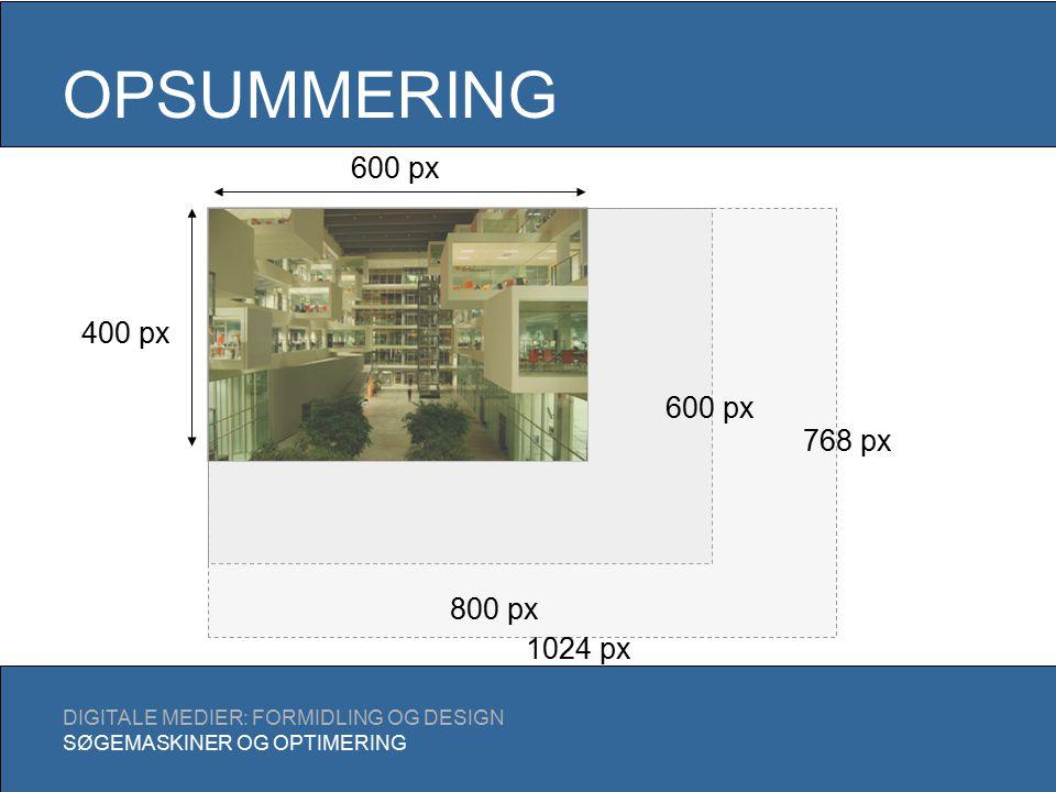 OPSUMMERING DIGITALE MEDIER: FORMIDLING OG DESIGN SØGEMASKINER OG OPTIMERING 600 px 400 px 800 px 600 px 768 px 1024 px