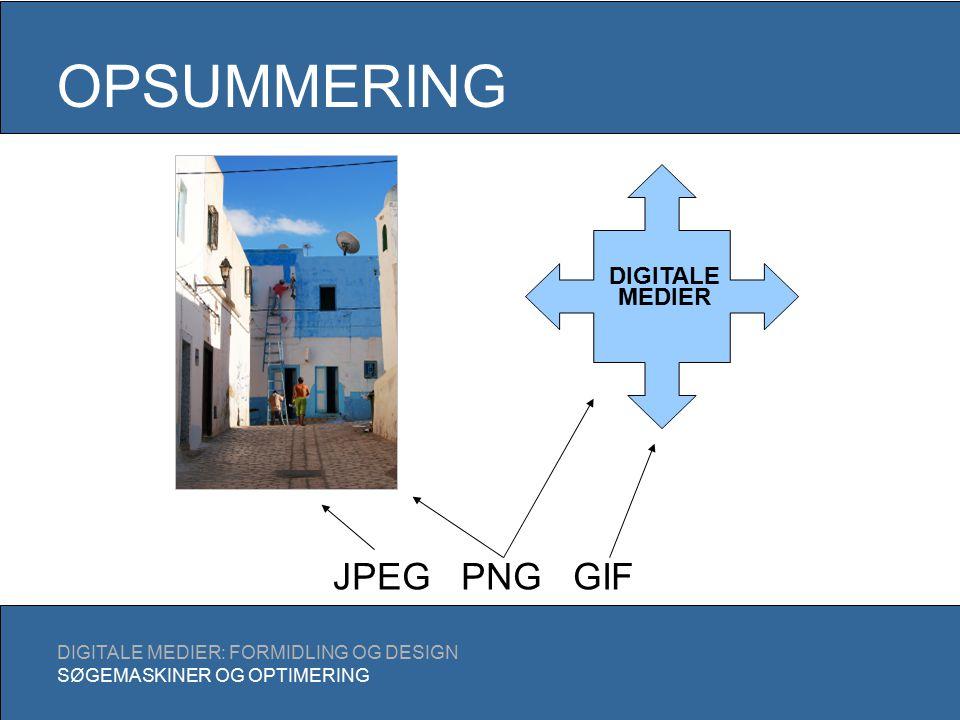 OPSUMMERING DIGITALE MEDIER: FORMIDLING OG DESIGN SØGEMASKINER OG OPTIMERING DIGITALE MEDIER JPEG PNG GIF