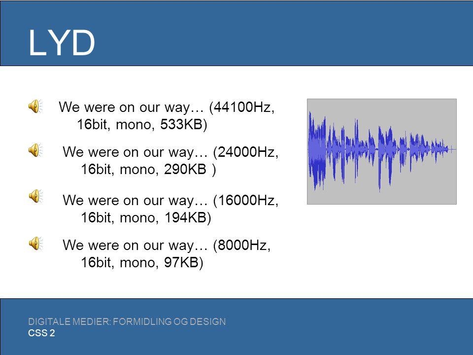 LYD DIGITALE MEDIER: FORMIDLING OG DESIGN CSS 2 En analog lydkilde konverteres til digitalt format: Encoding Under encoding kan der evt.