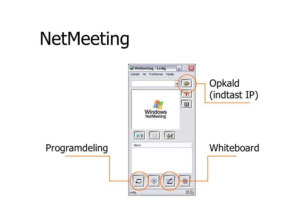 NetMeeting ProgramdelingWhiteboard Opkald (indtast IP)
