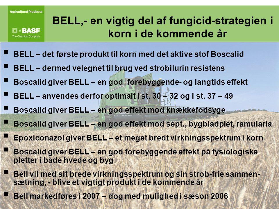 Agricultural Products  BELL – det første produkt til korn med det aktive stof Boscalid  BELL – dermed velegnet til brug ved strobilurin resistens  Boscalid giver BELL – en god forebyggende- og langtids effekt  BELL – anvendes derfor optimalt i st.