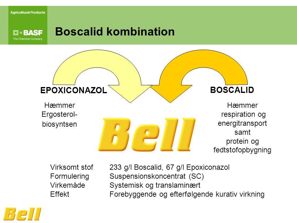 Agricultural Products Hæmmer Ergosterol- biosyntsen Hæmmer respiration og energitransport samt protein og fedtstofopbygning EPOXICONAZOL BOSCALID Boscalid kombination Virksomt stof233 g/l Boscalid, 67 g/l Epoxiconazol FormuleringSuspensionskoncentrat (SC) VirkemådeSystemisk og translaminært EffektForebyggende og efterfølgende kurativ virkning