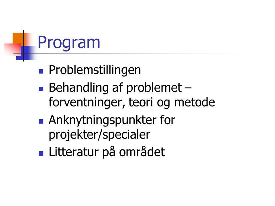 Program Problemstillingen Behandling af problemet – forventninger, teori og metode Anknytningspunkter for projekter/specialer Litteratur på området