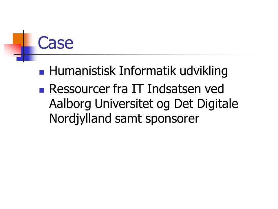 Case Humanistisk Informatik udvikling Ressourcer fra IT Indsatsen ved Aalborg Universitet og Det Digitale Nordjylland samt sponsorer