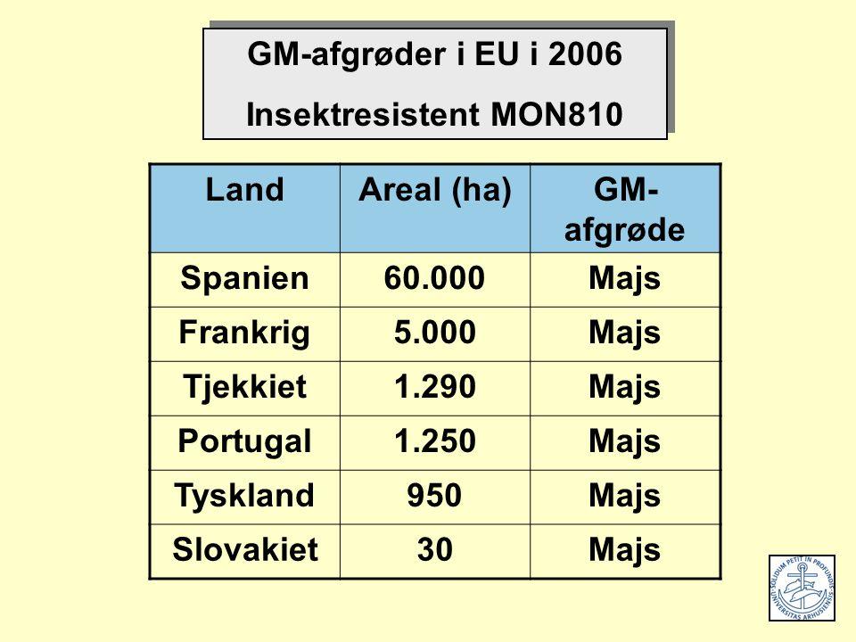 LandAreal (ha)GM- afgrøde Spanien60.000Majs Frankrig5.000Majs Tjekkiet1.290Majs Portugal1.250Majs Tyskland950Majs Slovakiet30Majs GM-afgrøder i EU i 2006 Insektresistent MON810 GM-afgrøder i EU i 2006 Insektresistent MON810