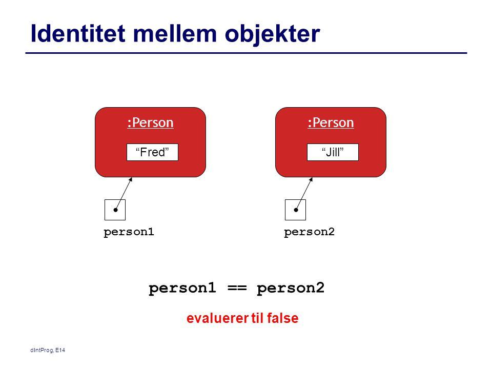 dIntProg, E14 Identitet mellem objekter person1 == person2 evaluerer til false Fred :Person person1person2 Jill :Person
