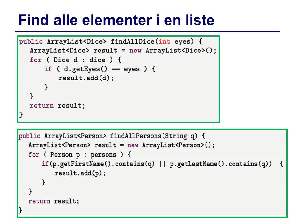 Find alle elementer i en liste dIntProg, E14