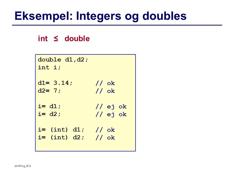 dIntProg, E14 Eksempel: Integers og doubles double d1,d2; int i; d1= 3.14; d2= 7; i= d1; i= d2; i= (int) d1; i= (int) d2; int ≤ double // ok // ej ok // ok