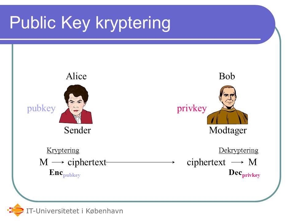 Public Key kryptering pubkeyprivkey SenderModtager M ciphertextciphertext M KrypteringDekryptering Enc pubkey Dec privkey Alice Bob